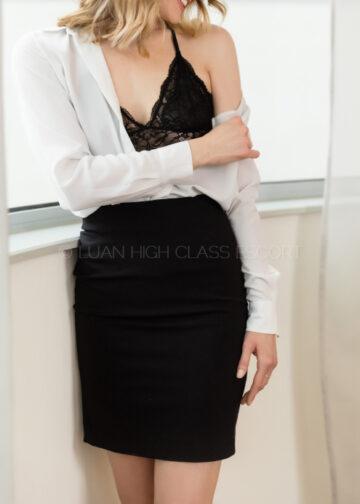 Escort in a business skirt